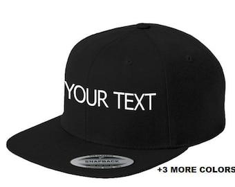 CUSTOM TEXT Flat Bill Snapback Cap | Custom Embroidered Hat, Custom Snapback, Personalized Hat, Personalized Snapback Hat, Your Text Here