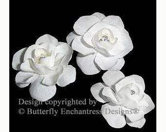 Wedding Hair Accessories, Bridal White Hair Flowers, Bridal Hair Pins - Rhinestone Centers