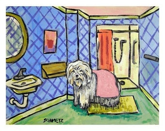 Old English Sheepdog Drying off after a Bath Art Print