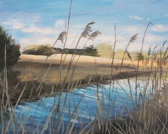 Winnall moors - original painting / landscape painting / winchester / landscape art / contemporary art / fine art