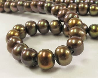 8.5-10 mm Large Hole Potato Freshwater Pearl Beads in Brown OR Peach Color, 2 mm Hole, Genuine Cultured Freshwater Pearl Bead (322-LHPMIX09)