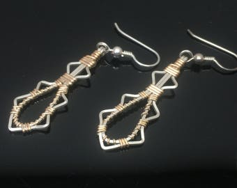 Dangle Earrings Hand Made Argentium Silver and 14 karat yellow gold filled jewelry by Ryan Eure Designs