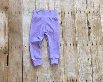 Purple polka dot leggings // baby leggings // toddler leggings // lavender leggings // lilac leggings