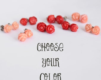 Genuine Bamboo Coral Rose Stud Earrings, Stainless Steel Studs, Carved Rose Earrings, Red Rose Studs, Salmon Rose Studs, Peach Rose Earrings