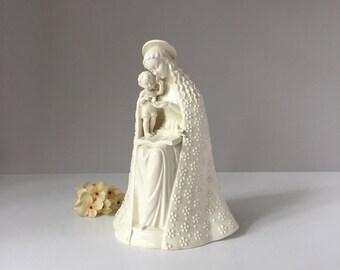 Vintage M I Hummel Flower Madonna, 1960s to 1972 TMK3 10/III, White Porcelain 11-Inch Figurine, Goebel W Germany, Stylized Bee Sty-Bee Mark