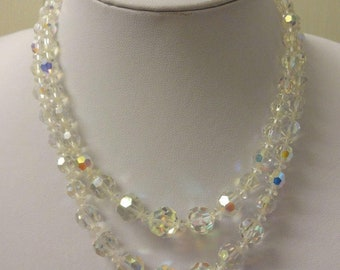 Crystal Necklace, Aurora Borealis Crystal Necklace, AB Necklace, Crystal Multi Strand Necklace, Double Strand Necklace
