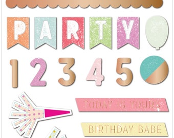 Pink Paislee Birthday Bash Epoxy Stickers  -- MSRP 4.00