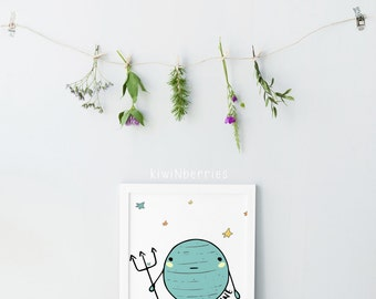 Neptune print - Boys room decor - Cute planet print - Educational prints - Baby boy nursery - Space themed nursery - Planet wall art - Stars