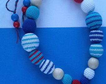 Crochet teething wooden animal dolphin beads for moms and children For baby teeth Crochet nursing necklace beads for baby first baby gift