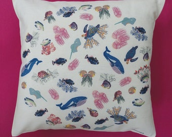 Sea collection Capsule, printed on natural cotton Cushion cover