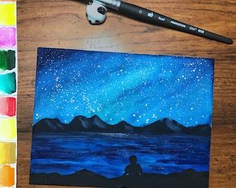 Moonlit Dreams - original watercolor painting