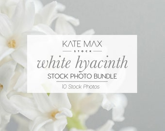 White Hyacinth Stock Photo Bundle / Styled Stock Photos / 10 KateMaxStock Lifestyle Branding Images for Your Business