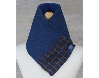 Harris Tweed Windsor Blue & Red Check Wool Neck Warmer Scarf with Button Detail