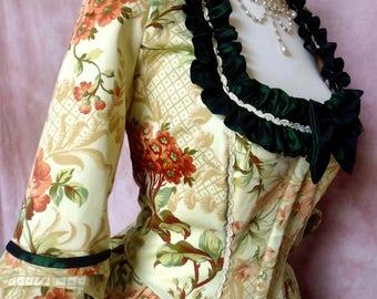 Atelier Cocon 3-piece rococo Casaquin dress costume wearable with Hüftrolle cotton/taffeta