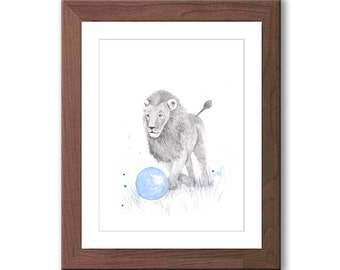 Watercolor Lion Art Print - Boy Nursery Art - Blue and Gray - Nursery Decor - Kids Wall Art - Animal Pictures for Boys Room - L101