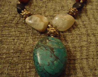 Vintage Boho One Of A Kind Rustic Grand Turquoise Necklace
