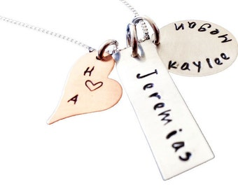 Mommy Necklace - Personalized Jewelry - Sterling Silver Hand Stamped Jewelry - Three Charm Necklace