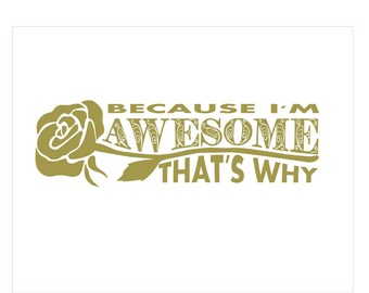 Because I'm Awesome, Rose Detail, Cool Sticker, Car Decal, Coloured Vinyl