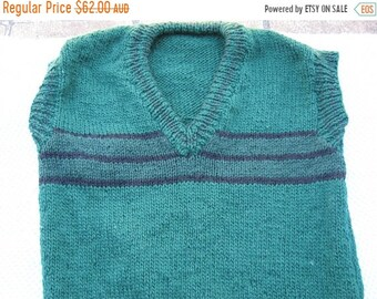 ON SALE Gorgeous Green Stripes Hand Knitted Vest for a Boy aged around 10 years.