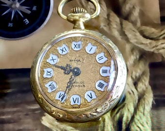 O-Size ARNEX Yellow RGP 17 Jewel Anguenot Freres French Mvm't Pocket Watch - Running