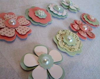 Flowers Handmade 8 Flower Scrapbook Embellishment Paper Flowers Wreath Flowers Flower Wreath Supply Crafting DIY Card Making Headband Supply