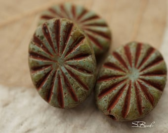 Olive Rays, Oval Beads, Czech Beads, N1656