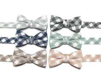 Boys Plaid Check Bow Ties~Boys Bow Tie~Boys Plaid Bow Ties~Cotton Bow Tie~Gingham Bow Tie~Church Tie~Plaid Bow Tie~Wedding~Ring Bearer~Gift