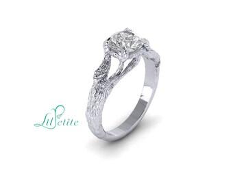 Moissanite Branch Engagement Ring | 14k White Gold 1ct Forever One | Leaf Woodland Ring