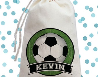 Soccer Birthday Party Favor Bags, Sports Birthday, Goodie Bag for Boys, Canvas Drawstring Favor Bags, Soccer Party Decor Ideas, Candy Bag