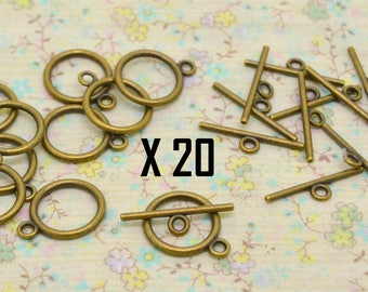 20 x T 14mm diameter bronze metal toggle clasp
