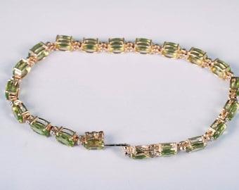"""14K Yellow Gold and Peridot and Diamond Chip Bracelet, 7.5"""""""