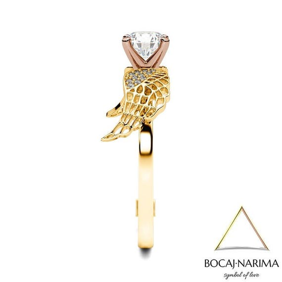 Two Tone Angel Ring Birds Open Wings Wings Rose Gold Ring