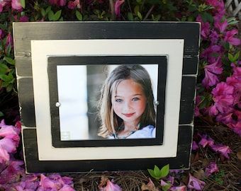 Distressed Black 8 x 10 Picture Frame with Double Wood Mats