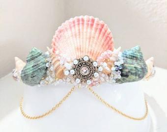 Mermaid crown, shell crown, mermaid tiara, shell tiara, mermaid costume, renaissance costume, festival crown, bride