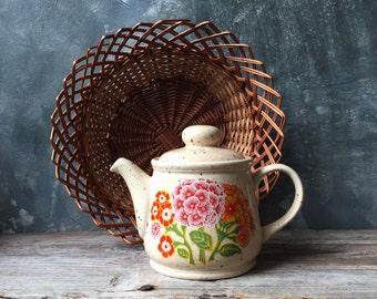 Sadler England Speckled Stoneware Teapot | 1970 Vintage Primrose Sadler Tea Pot | Floral Teapot | Made in England | Retro Kitchen