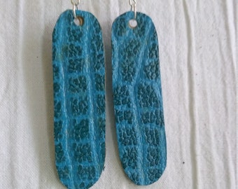 Leather Earrings Pierced or Clip on Blue Animal Print