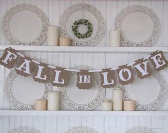 Fall in Love Banner, Wedding Sign, Wedding Decoration, Wedding Reception Decor, Country Wedding, Vintage Wedding