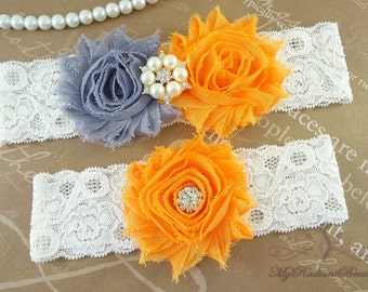 Wedding Garter, Bridal Garter, Garter, Shabby Chic Gray Orange Garter, Garter Set, Garter belt, Handmade Garter, Lace Garter GTF0028O