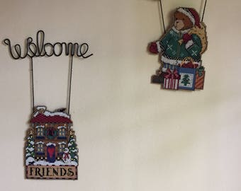Counted Cross Stitch Christmas Door Decorations