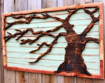 Fireplace Decor Wall Hanging Distressed Reclaimed Wood Wall Mount Tree Rustic Home Wall Decor Blowing in the Wind California Woodwork USA