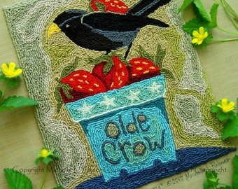 Blackbird Olde Crow Strawberry Patch Basket Black Bird Punch Needle Embroidery DIGITAL Jpeg PDF PATTERN Michelle Palmer Painting Threads