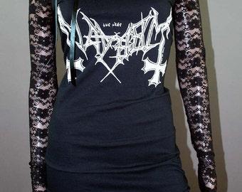 Mayhem Lace Ribbon Off Shoulder Dress Long Sleeve Black Metal