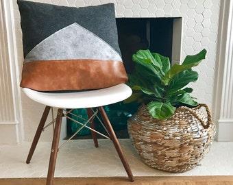 Color Block Modern Grey Felt Decorative Pillow