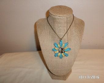 Steampunk Flower Necklace with Vintage Watch Part
