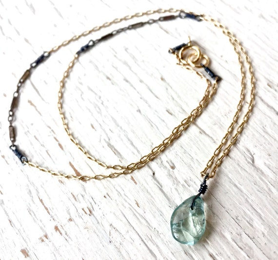 Petite Aquamarine Mixed Metal Pendant Necklace Minimalist Layered Silver and Gold March Birthstone