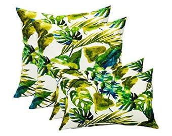 "Set of 4 Decorative Throw Pillows  - Blue, Green, Yellow - 17"" x 17"" & 11"" x 19"""