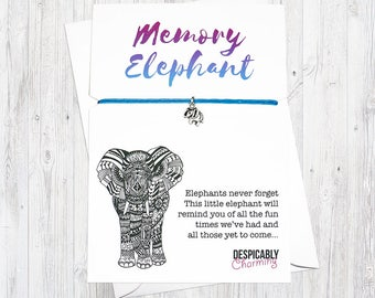 Memory Elephant Friendship Bracelet Greetings card - Elephants never forget. Valentines gift, valentines card. BFF gift or party favour