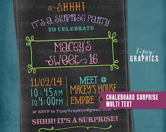 Fun Colorful Chalkboard Birthday Party Invite by Tipsy Graphics. Sweet 16. Surprise. Dirty 30. Bachelorette Party.