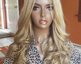 "Brazilian U part Wig 20"" Blonde Human Hair wig Handmade custom made"