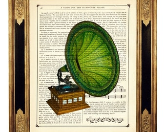 Green Gramophone Image Music Player Poster Dictionary Art - Steampunk Vintage Victorian Book Page Art Print